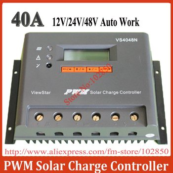 40A,12/24/36/48V auto work,Adjustable/programable off-grid solar system charge controller/regulator  VS4048N with big LCD