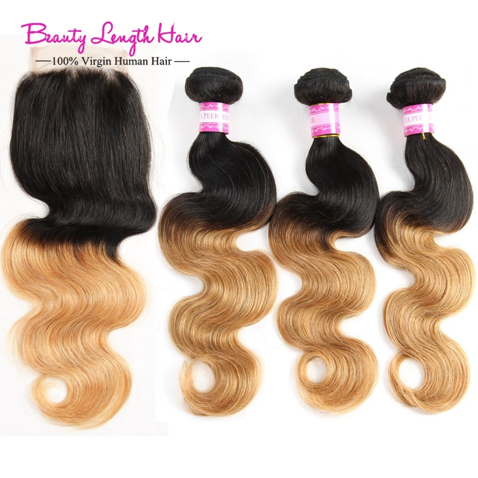 Rosa Hair Product Indian 4 Bundles Ombre Virgin Human Hair Body Wave Two Tone 1B/27 Ombre Hair Weave Extension with Lace Closure