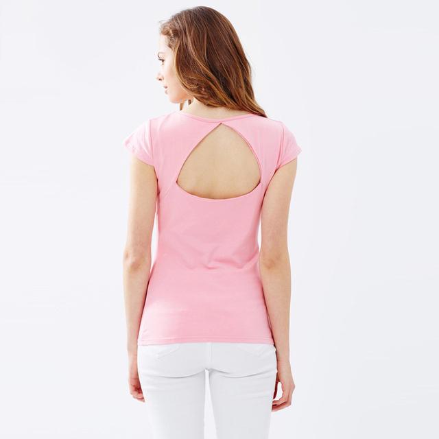 Горячая распродажа 2016 сексуальная элегантный твердые розовый женщины футболка с коротким рукавом майки женщин горб вершины Blusas Femininas Tumblr