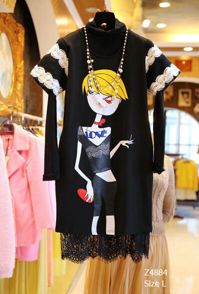 European Style 2016 Summer Autumn Ladies' Suits cartoon short-sleeved Basic dress+Long Sleeve Lace Dress Two-piece Sets Z4884(China (Mainland))
