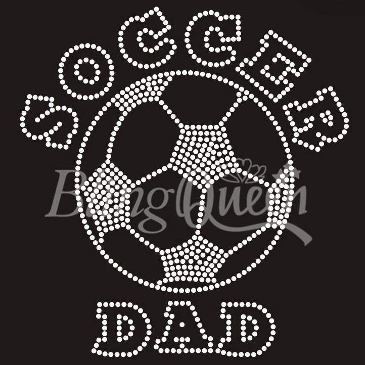 25PCS/LOT Custom Iron On Rhinestone Soccer Dad Design(China (Mainland))