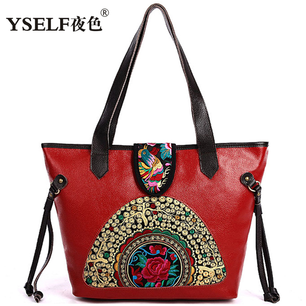 First layer leather Women Handbags,Fashion Female Vintage National Portable Shoulder Bags,Casual Genuine Leather bag - Your Preferred _ Brand Bag Store store