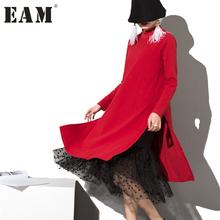 Buy 2017 new spring high collar Long Sleeve Gauze Split Joint Two False Long black red dress women fashion tide 800011 for $27.84 in AliExpress store