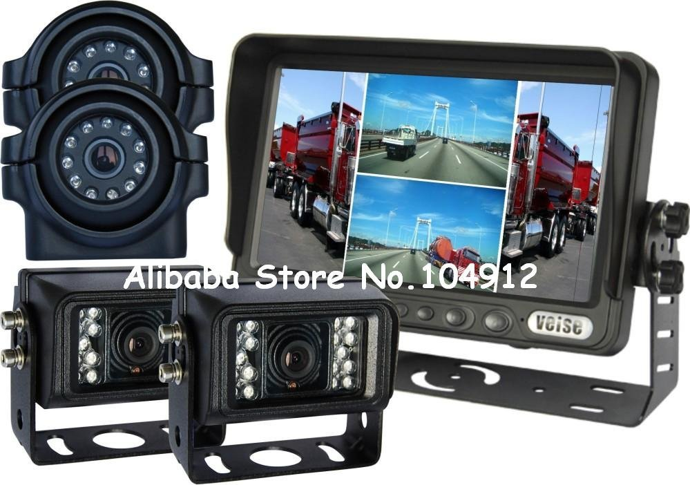 "Heavy Duty, 7"" Quad Backup Rear View Reverse System Side View Camera, WHOLESALE(China (Mainland))"