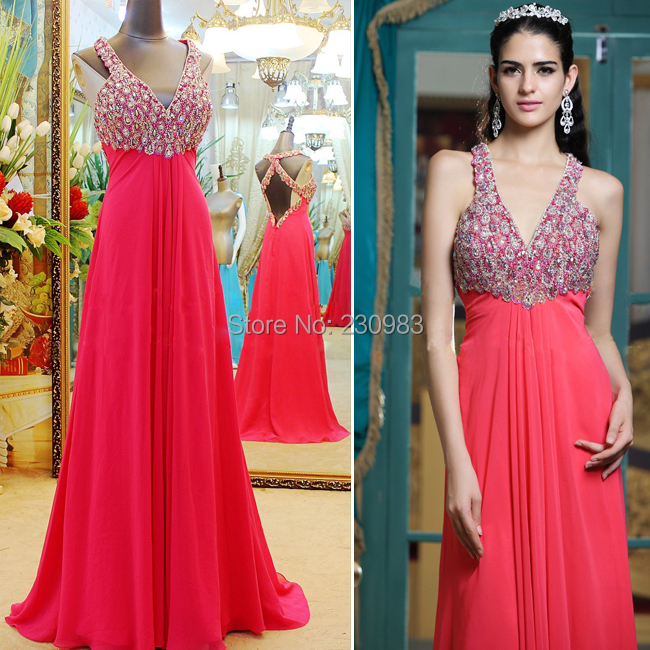 Charming Deep V-Neck Sleeveless Strong Beaded/Crystal Long Evening Dress 2014 Cheap Party Prom Occasion Gown - Abby's Bridal Studio store