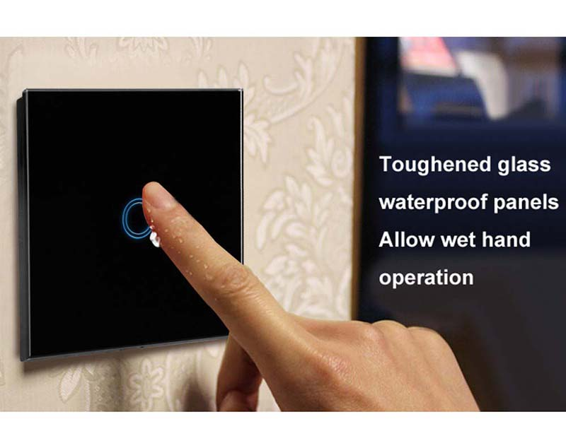 EU/UK Standard  1 Gang 1 Way Light Touch Switch,LED Lamp Touch Screen Switch,Crystal Glass Switch Panel For Smart Home