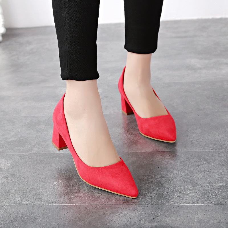 Single girls shoes with red shoes in Europe and the United States in the spring and