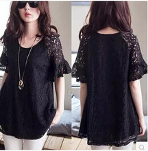 Women Blouses Lace Solid Rushed New 2015 Spring And Summer Style Sexy Fashion Fertilizer To Increase Blusas Fat Mm Thin Blouse(China (Mainland))