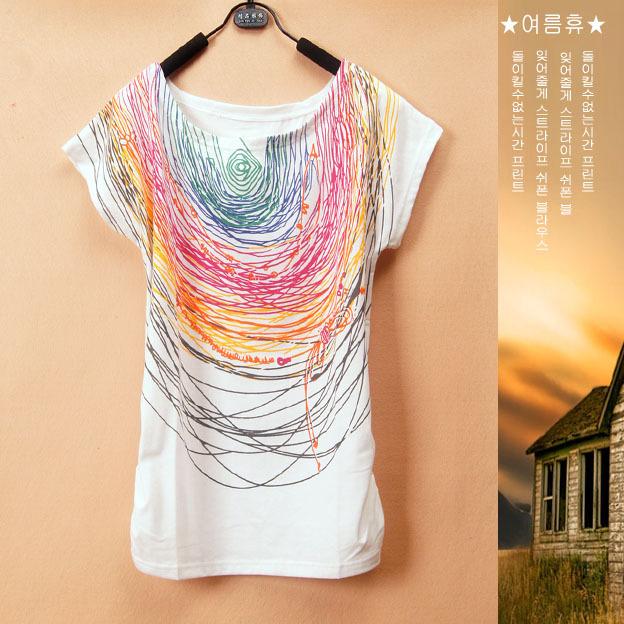 [ Мэджик ] линия граффити печать короткий рукав хлопок женщины в футболки один размер без тары стиль LB33