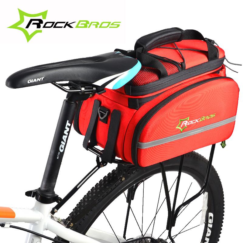 Фотография RockBros Multifunction Bike Bag Large 12L Stuff Space Bicycle Bag Extended Double Pouch Rear Rack Trunk Bag Pannier Travel Bag
