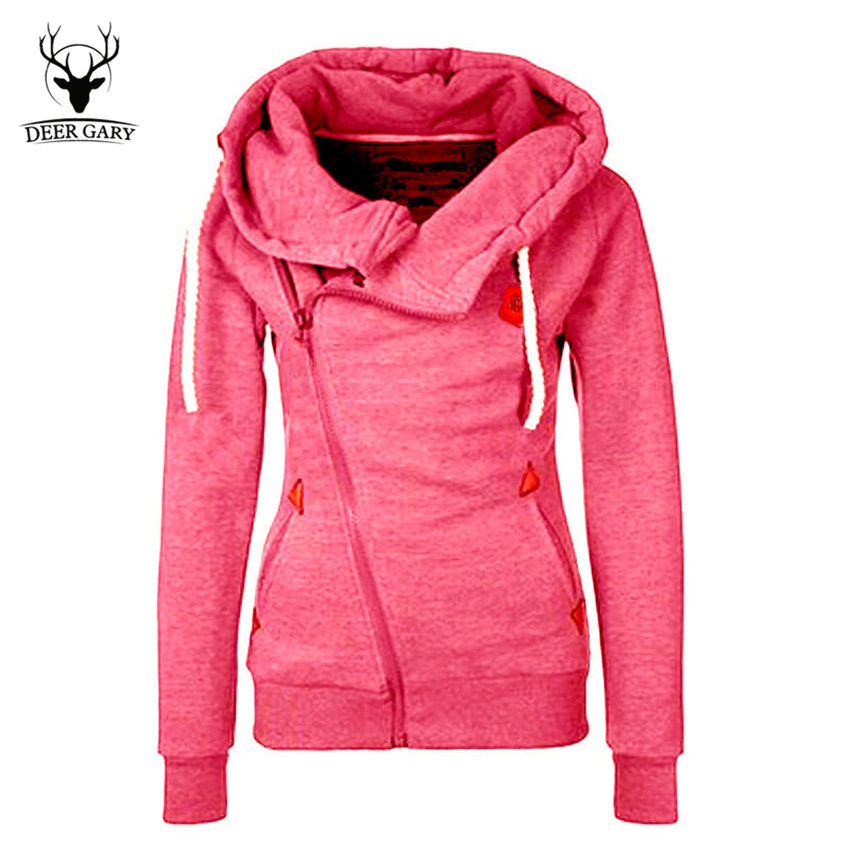 New Fashion Solid Women Hoodies Sweatshirts Spring Autumn Hoodies Women Zipper Design Thicken Hoody Women Hoody Sweatshirt(China (Mainland))