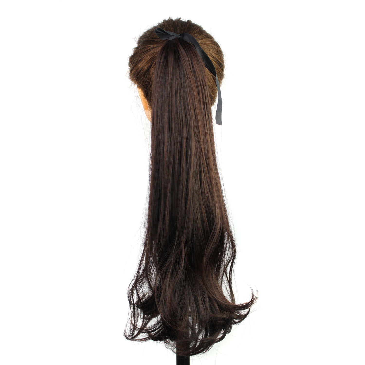 synthetic wrap around long wavy ponytail hair extensions with claw clips in, synthetic drawstring ponytail hair pieces<br><br>Aliexpress