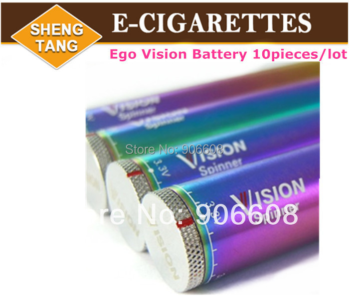 10pieces/lot Ego Vision Spinner Battery Rainbow 650mah 900mah 1100mah for Electronic Cigarette E Cigarette E-cig Kit <br><br>Aliexpress