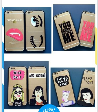 Fashion letters supreme cat lips fries girl eyes phone case Transparent soft silicone Borders for iphone 6 4.7inch 5 cases cover(China (Mainland))