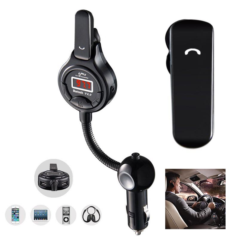 Removable Earphone Car FM Transmitter Radio Adapter Hands Wireless Earphones with for iPhone Sumsung(China (Mainland))
