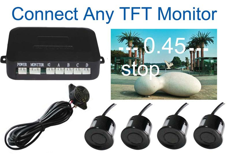 Car Parking System with 4 Sensors visual Car video Parking Sensor Auto parking Connect Car DVD Monitor And Rearview Camera<br><br>Aliexpress
