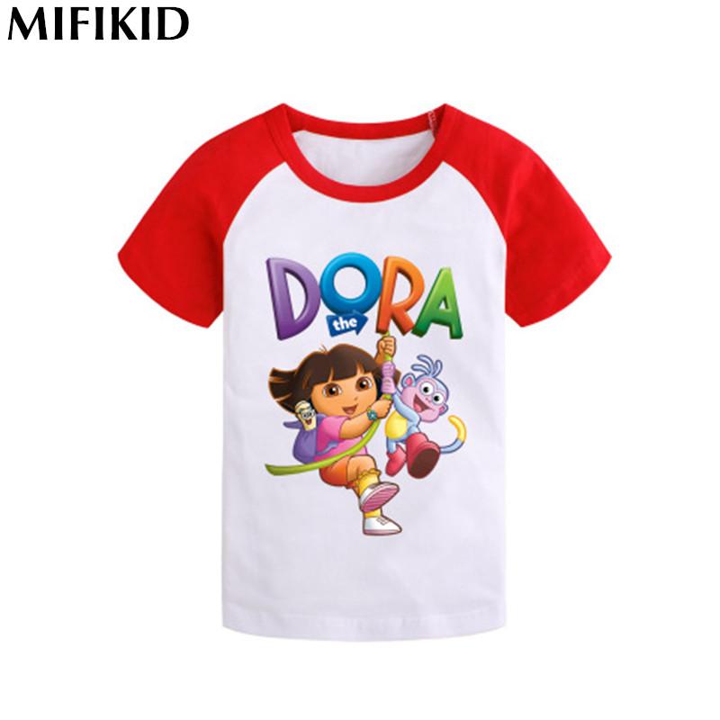 2016 the Dora Explorer children t shirts girls boys t shirt cotton summer clothing brand costume blouse kids clothes tees tops(China (Mainland))