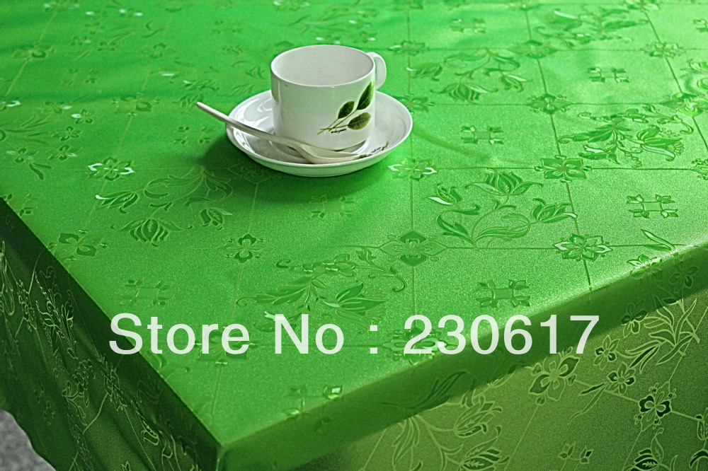 Green Color TC178-031 Soft glass table mat Plastic table cloth Transparent waterproof oil tablecloth pvc dining table cover(China (Mainland))