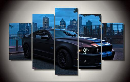 High Quality Printed Ford Mustang Group Painting Children'S Room Decor Print Poster Picture Canvas Unframed 5 Pieces(China (Mainland))