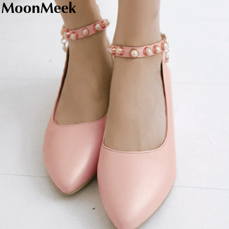 2016 new arrive hot sale buckle strap high quality pointed toe summer casual low heels wedding shoes women pumps<br><br>Aliexpress
