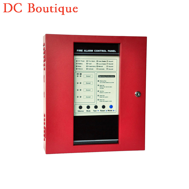 (1 set)Free shipping Fire Alarm Control Panel 4 zones Security Protection Easy Installation English manual Alarm System