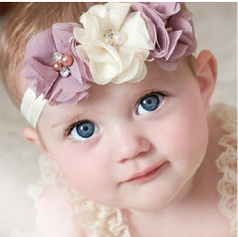 20Clrs New Fashion Hot children kids Baby girls pearl diamond 3 flowers Headband Headwear Hair Band Head Piece Accessories(China (Mainland))