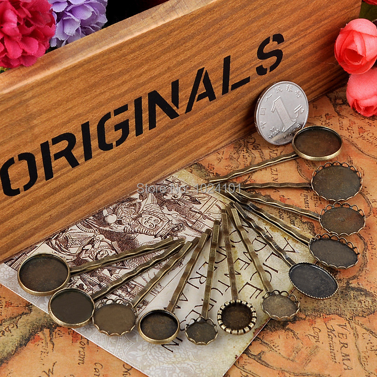 Free Shipping Many kinds 10-18MM Alloy Hairpins,Antique Bronze,fit 10-18mm glass cabochon,bobby pin blank,hair pin bezels,30pcs(China (Mainland))