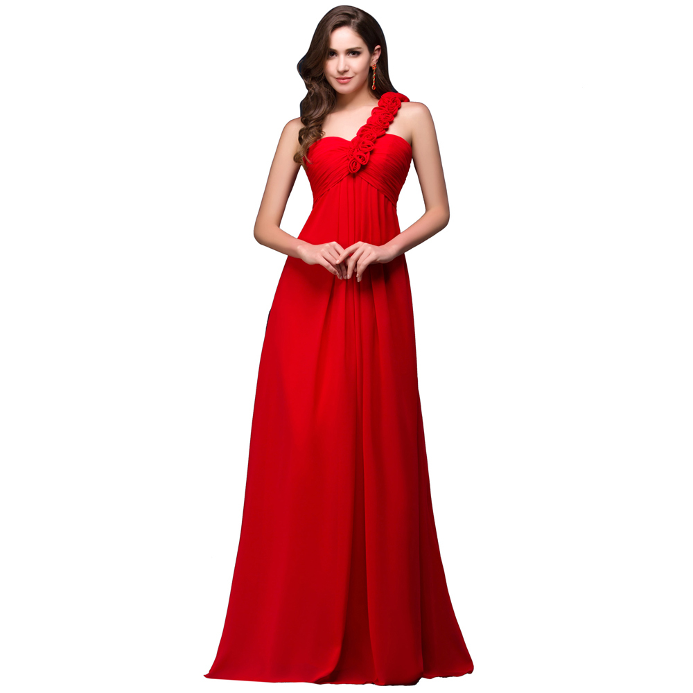 Free shipping one shoulder red flower print evening dress for Evening wedding guest dress