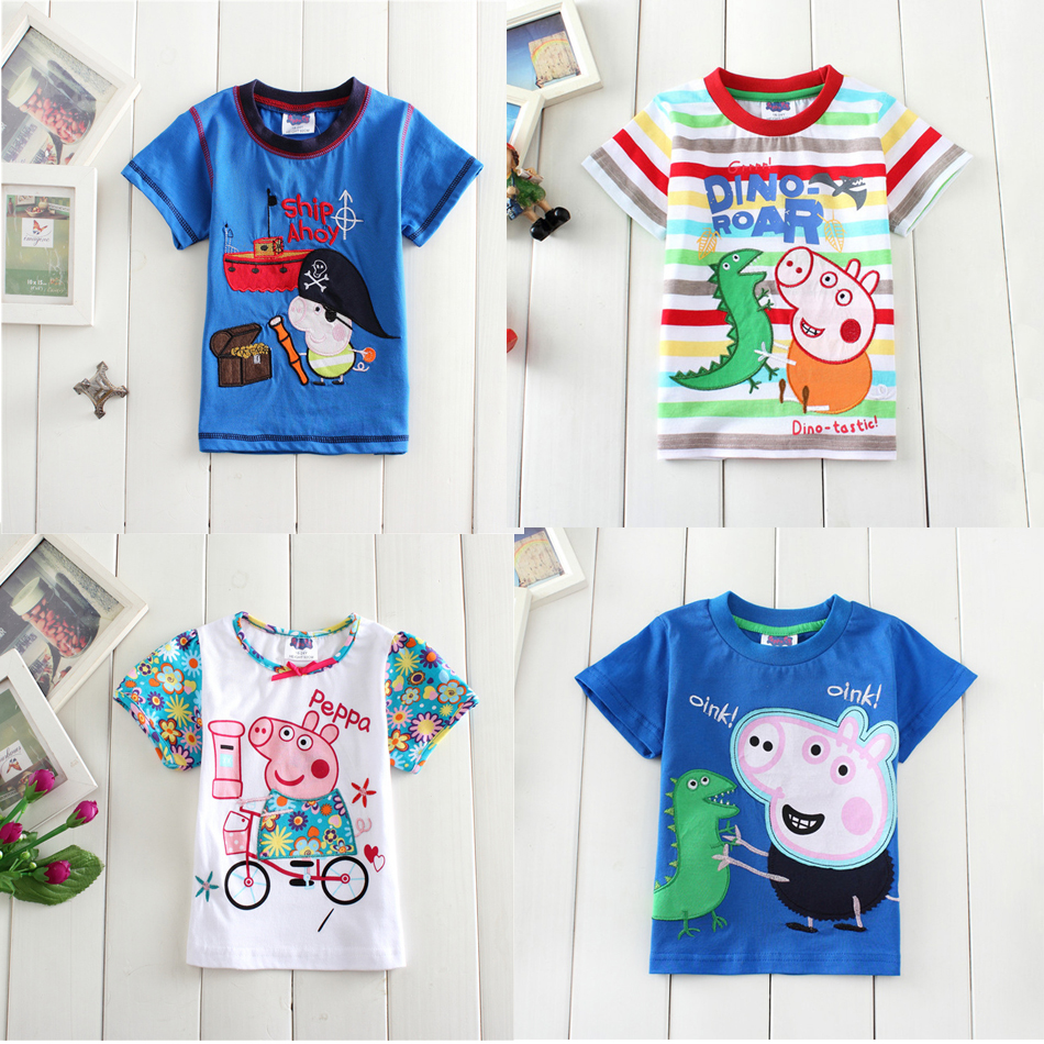 Nova new summer cartoon pig boys girl t-shirt short Pure cotton embroidered brand cotton kids clothing  baby girl clothes <br><br>Aliexpress