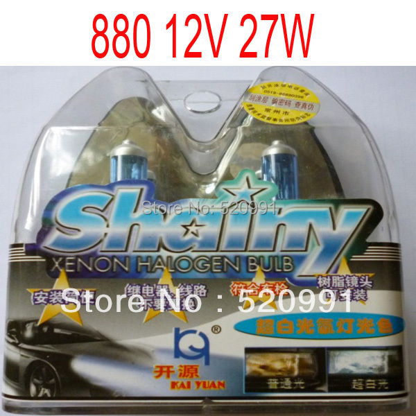 Free Shipping New 12v 880 27w 6000K Xenon Super White Car HeadLight Bulb HID Halogen light Kit(China (Mainland))