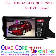 1024*600 Quad Core Android 4.4.4 Fit HONDA CITY RHD 2014 2015 Car DVD Player GPS TV 3G Radio(China (Mainland))
