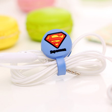 4pcs Cable Ties Earphone Spiderman Batman Captain America Transformers Cord Organizer Wrap Cable Winder for Headphones Earphones(China (Mainland))