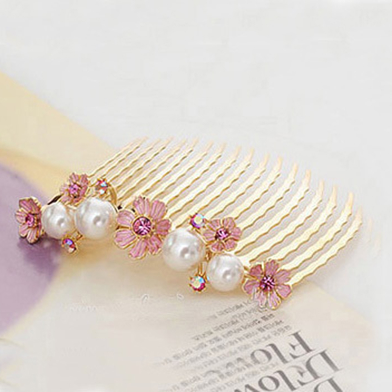 Exquisite Korea Fashion Sweet Girls Hair Camellia Shape Imitation Pearl Hair Combs hair clips for women WF026(China (Mainland))