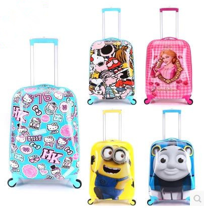 19 child ABS spinner rolling luggage kid students cartoon travel trolley baby KT/thomas/minions suitcase storage box<br><br>Aliexpress