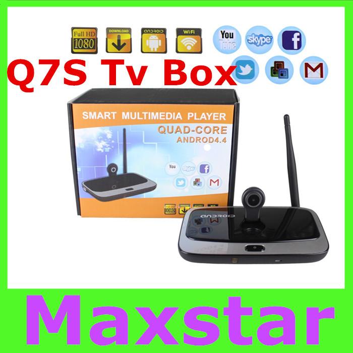 Q7S Media Player HD 1080P Bluetooth Android 4.4 TV Box RK3188T Quad-core 2G/8GB Support 2MP Camera Mic XBMC DLNA Miracast<br><br>Aliexpress