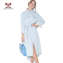 2016 Women Denim Dress Long Sleeve Casual Lapel Single Breasted Jeans Women Dress with Belt Vintage Blue Denim Shirt Dress -1042(China (Mainland))