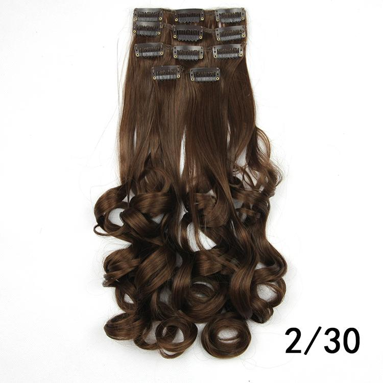 5pcs/set, light brown clip in hair extensions, dreadlock extensions, synthetic hair, color 2/30<br><br>Aliexpress