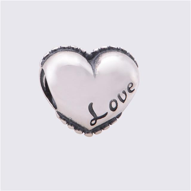 Оригинал 925 ювелирных любовь шарма сердца бусины Fit пандора браслет марка DIY мода ювелирных изделий для змея цепи
