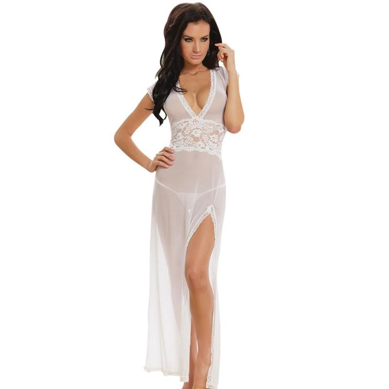 Women Sexy Long Dressing Night Gown Sheer Transparent Dress Nightgown Nightie Sleepwear Lingerie +Thong Set