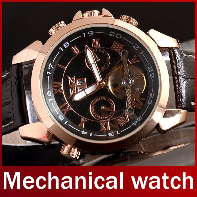 2013 Fashion Brand Jaragar Luxury Leather Strap Skeleton Automatic Mechanical Men Analog Watch For Men Wristwatch With Calendar<br><br>Aliexpress