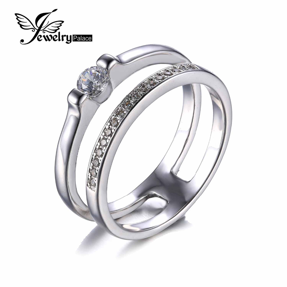 925 Sterling Silver Ring Simple Wedding Engagement Ring Set High quality Cubic Zirconia Jewelry Women Double layers Trend Rings(China (Mainland))