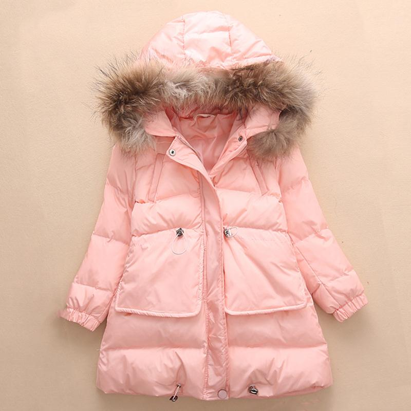 Girls Winter Coat Plus Thick Pure Kids Coats Girls Winter Fur Collar Cap Winter Jacket Girls Child Casual Children Clothing 438