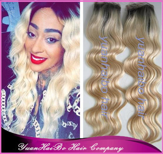 Hot Sale! ombre #2/613 body wave virgin malaysian two tone lace closure free parting 3.5*4 free shipping<br><br>Aliexpress