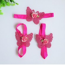 Infant Flower Satin First Walkers Baby Girl Barefoot Elastic Band Shoes Heart-shaped Butterfly Satin Headband Set(China (Mainland))