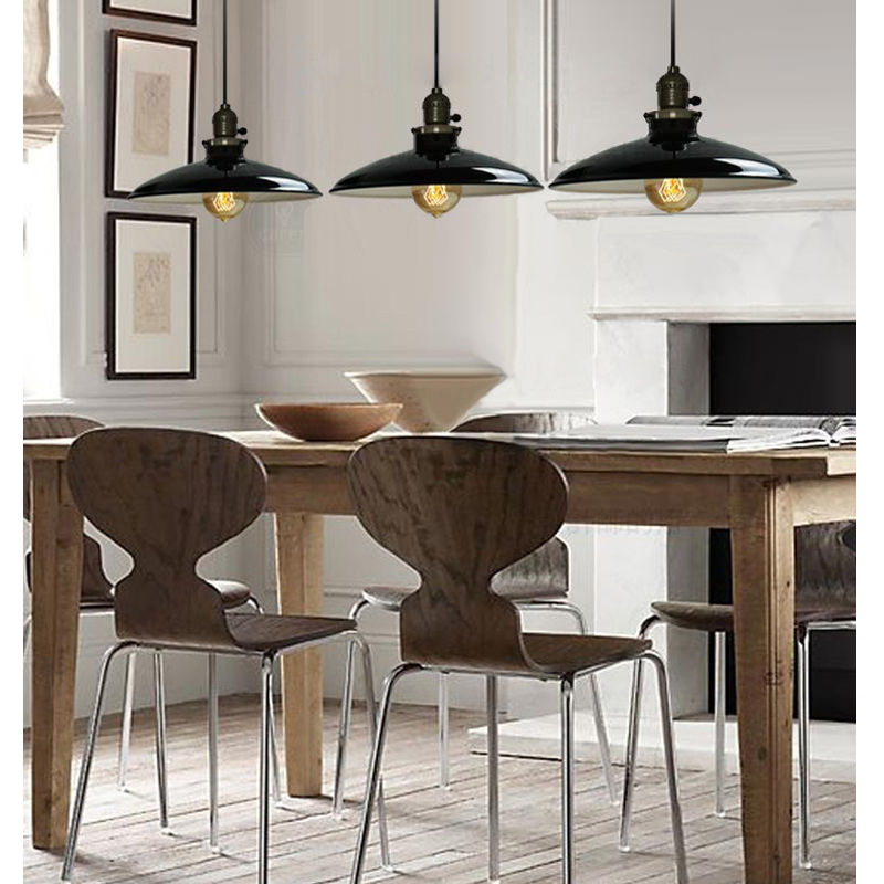 AC110-250V Black lampshade Lustres home Vintage Industrial Metal UFO Pendant Light Factory study room Lamps Guard