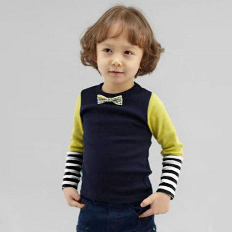 Гаджет  Fashion Baby Boys Bowties Stripes Long Sleeve T-shirt Shirt Tops Toddler Clothes None Детские товары