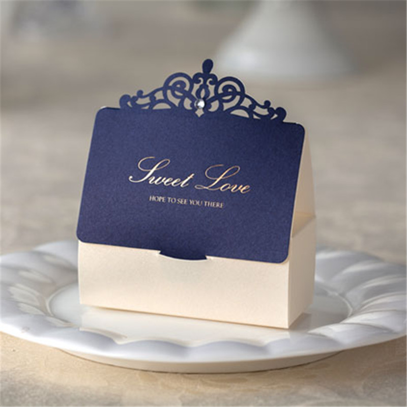 20pcs/lot Sweet Love Cute Favors and Gifts Wedding Decoration Laser Cut Dark Blue Paper Candy Box For Guests Party Accessories(China (Mainland))
