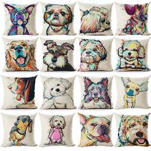 Pug Pop Dog Cushion Cover Decorative Throw Pillows Colorul French BullDog Watercolor Pattern Cotton Linen Cushion Bull Terrier(China (Mainland))