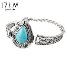 Vintage Carved Boho Statement Bracelet Genuine Heart Turquoise Chain Charm Wristband Bracelets pulsera brazalete Accessory CS16(China (Mainland))