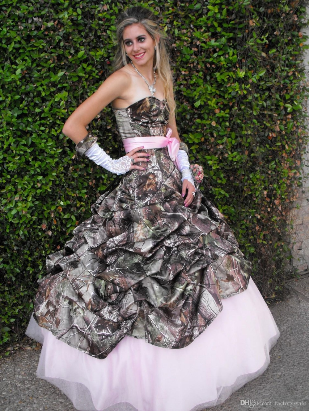 Buy cute pink camo wedding dress for Forest wedding dress vintage